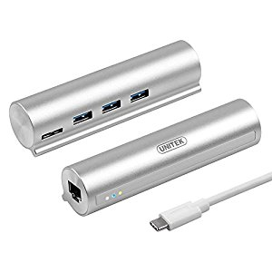 HUB USB TYPE C (3.1) sang 3 USB (3.0) + 1 Port LAN Gigabit UNITEK Y-3095