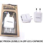 Bộ sạc Proda 2.1A  2 USB + cáp Lightning IPhone RP U21