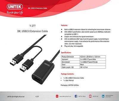 Cáp ND USB 5m có chíp kèm nguồn UNITEK Y-277