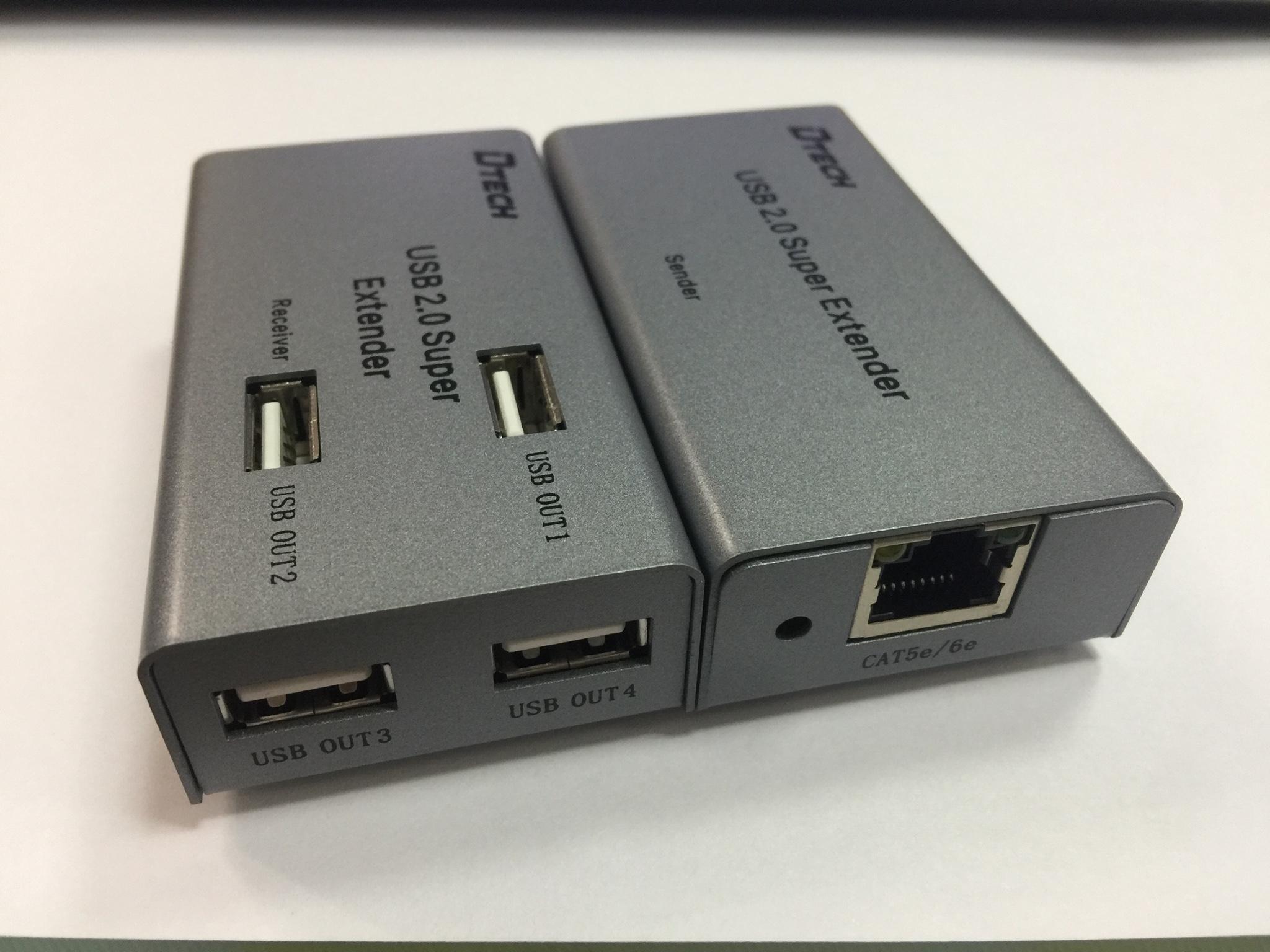 Bộ mở rộng USB 2.0 (1 ra 4) 50m qua cáp mạng DTECH DT-7014A
