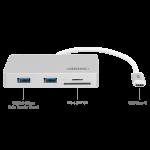 Cổng USB3.1 Type C To 2 USB + Reader kèm nguồn UNITEK Y9319