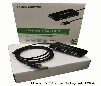 HUB 4Port USB 2.0 cáp dài 1,2m kingmaster KM004