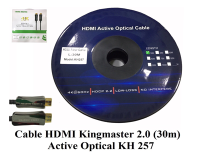 Cáp HDMI 2.0/4k 30M ACTIVE OPTICAL KINGMASTER (KH257)
