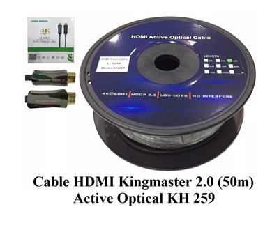 Cáp HDMI 2.0/4k 50M ACTIVE OPTICAL KINGMASTER (KH259)