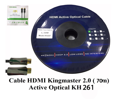 Cáp HDMI 2.0/4k 70M ACTIVE OPTICAL KINGMASTER (KH261)