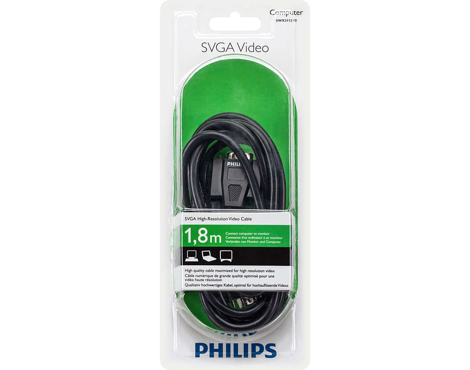 Cáp màn hình SVGA Philips 1.8M  SWX2112/10
